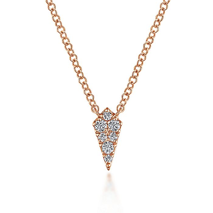 14K Rose Gold Diamond Kite Pendant Necklace