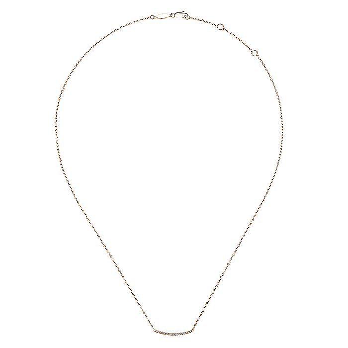 14K Rose Gold Diamond Pavé Curved Bar Necklace