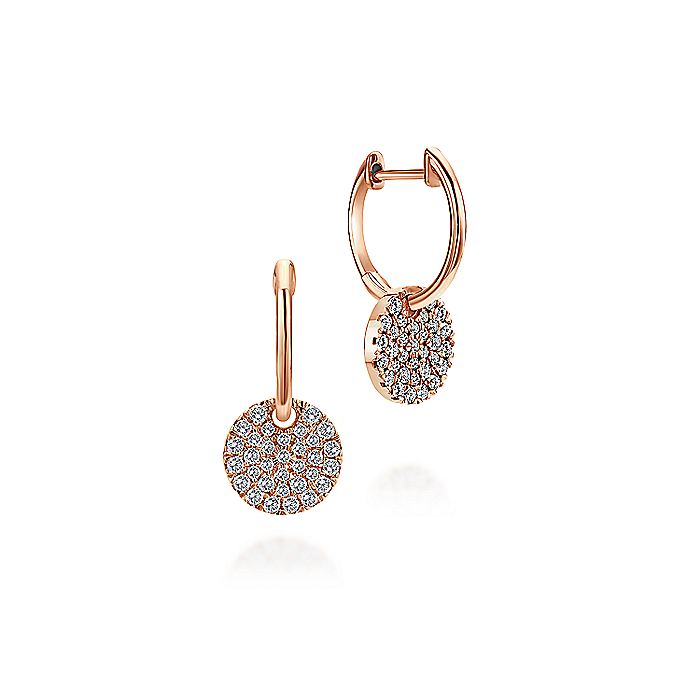 14K Rose Gold Diamond Pavé Disc Drop Earrings
