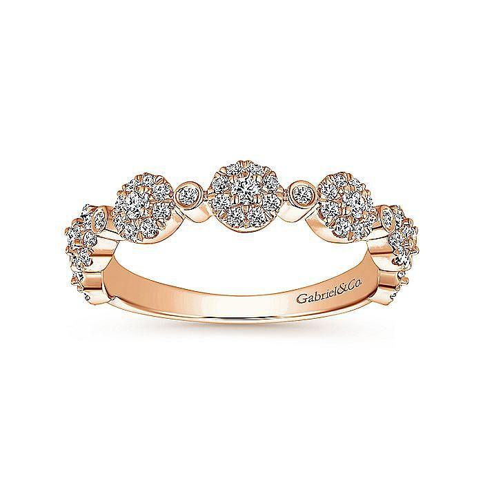 14K Rose Gold Diamond Pavé Station Stackable Ring