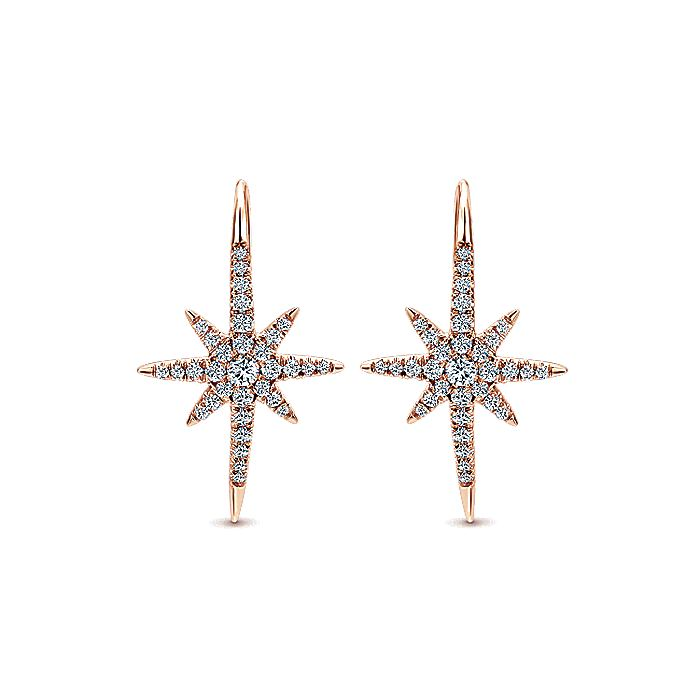 14K Rose Gold Diamond Star Drop Earrings