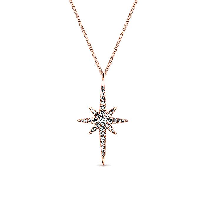 14K Rose Gold Diamond Starburst Pendant Necklace