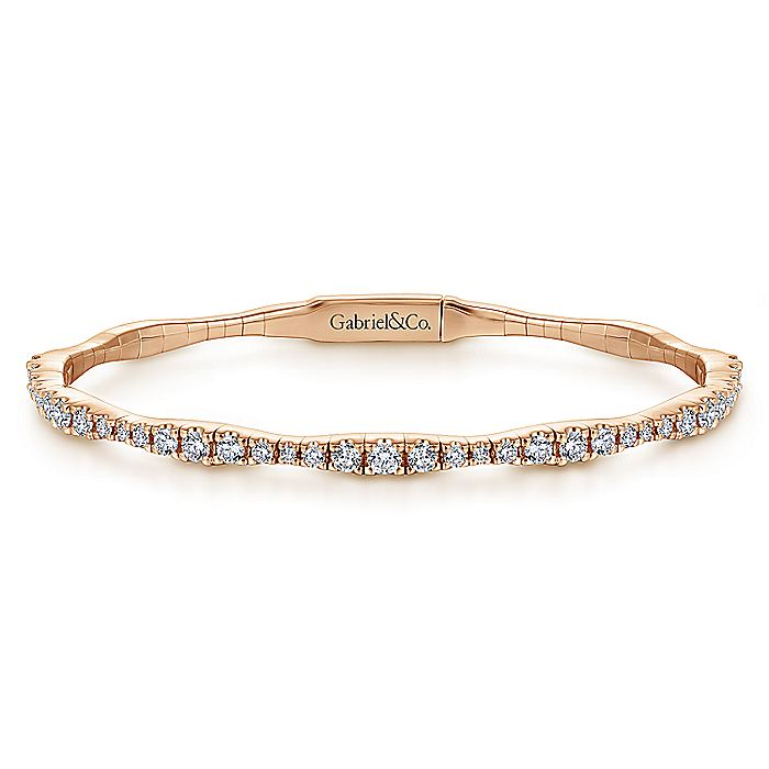 14K Rose Gold Diamond Station Bangle
