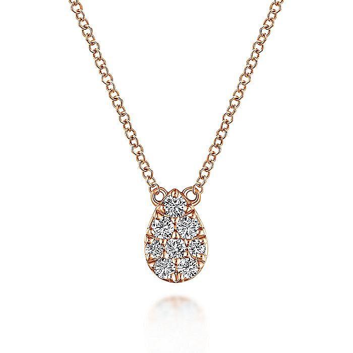 14K Rose Gold Diamond Teardrop Pendant Necklace