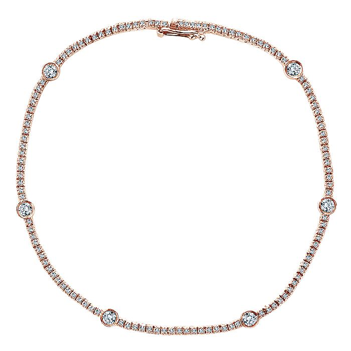 14K Rose Gold Diamond Tennis Bracelet with Bezel Set Diamond Stations