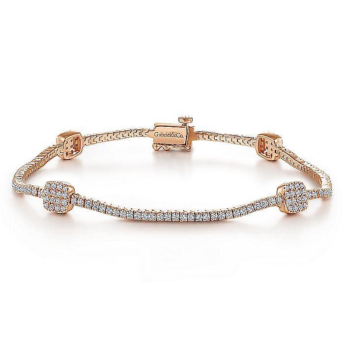 14K Rose Gold Diamond Tennis Bracelet with Diamond Cube Stations