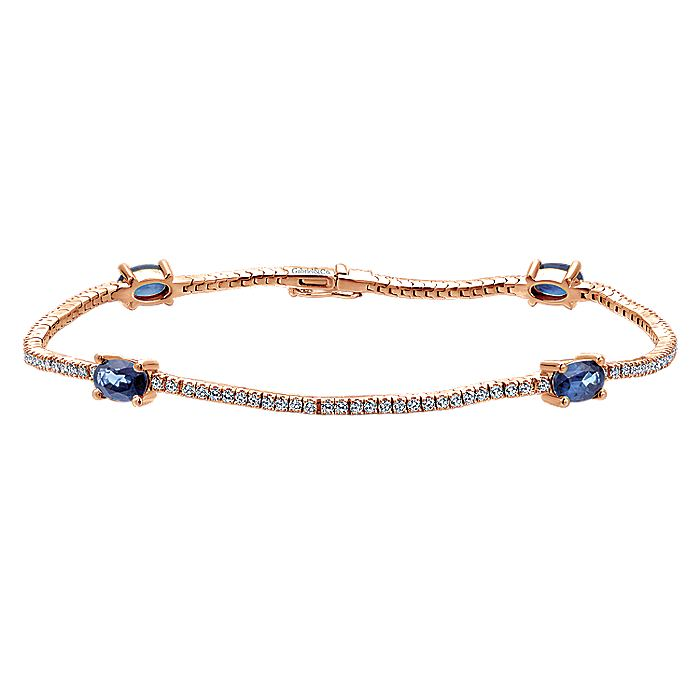 14K Rose Gold Diamond Tennis Bracelet with Oval Sapphire Stations