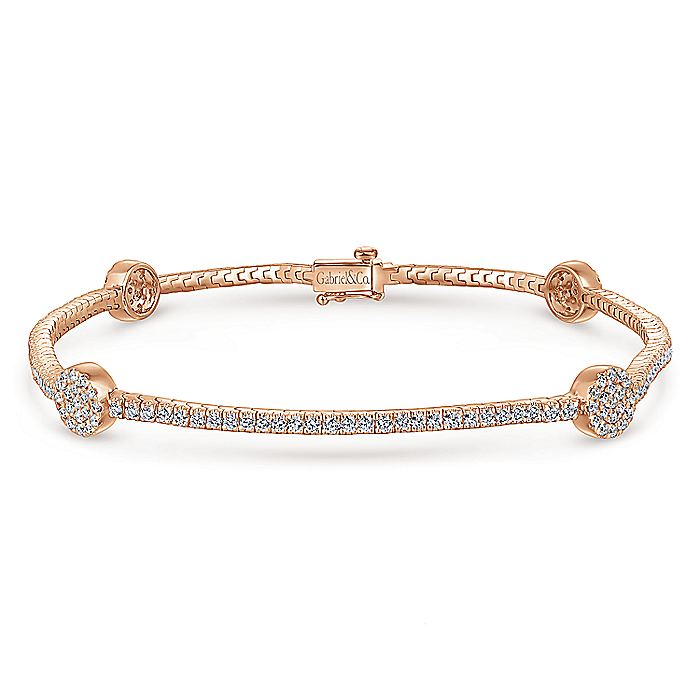 14K Rose Gold Diamond Tennis Bracelet with Round Cluster Stations