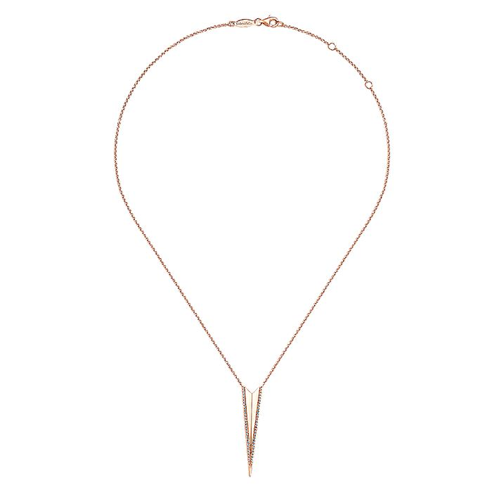 14K Rose Gold Diamond Triangle Pendant Necklace