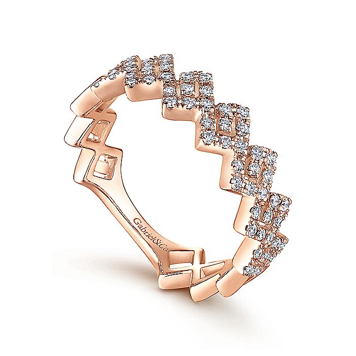 14K Rose Gold Diamond Zig Zag Stackable Ring