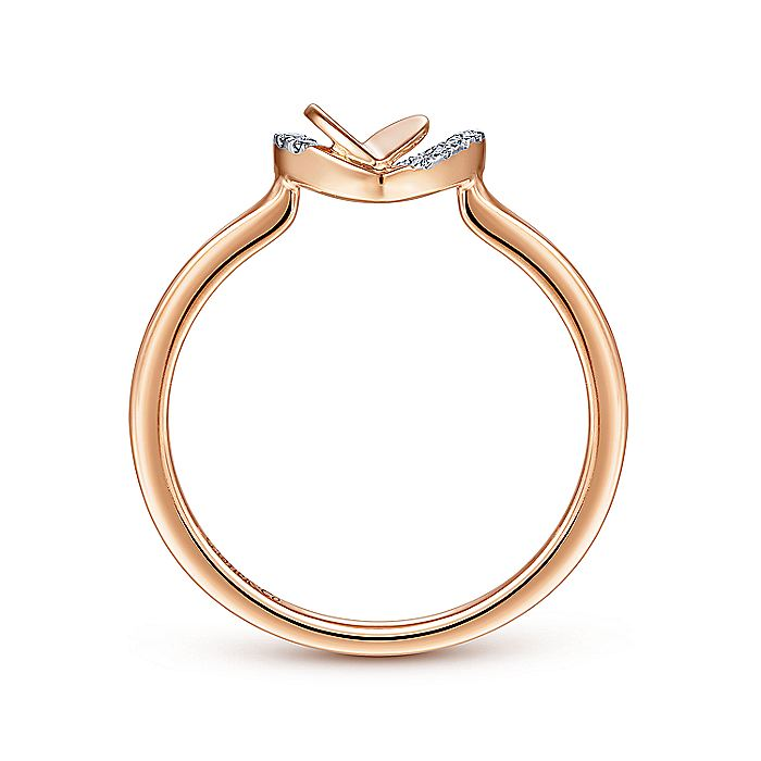 14K Rose Gold Double Heart Diamond Fashion Ring