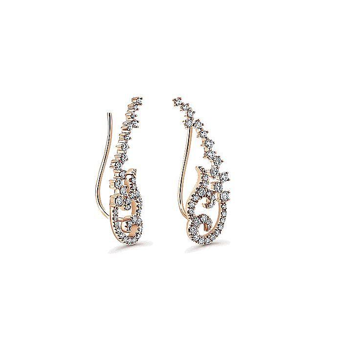14K Rose Gold Elaborate Diamond Earring Climbers