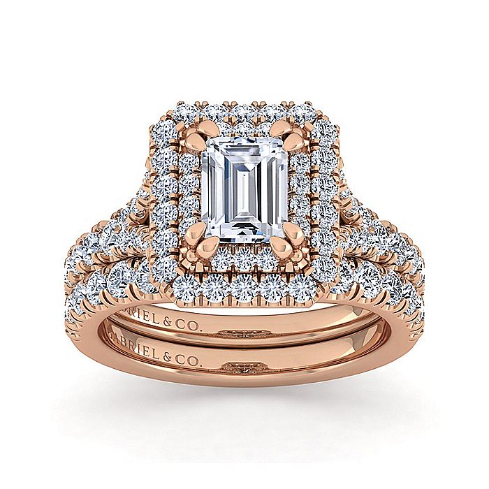14K Rose Gold Emerald Cut Diamond Engagement Ring