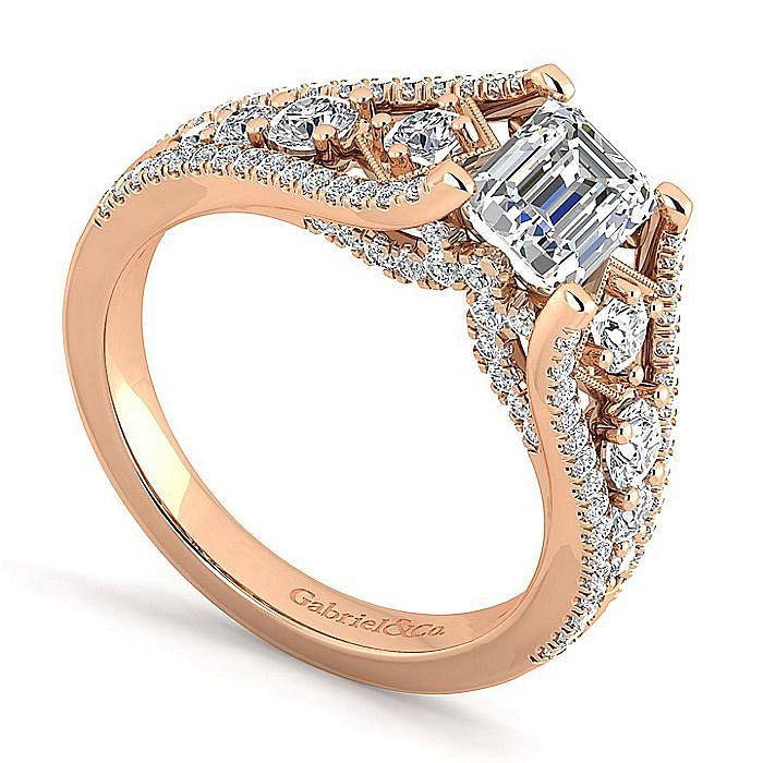 14K Rose Gold Emerald Cut Diamond Engagement Ring