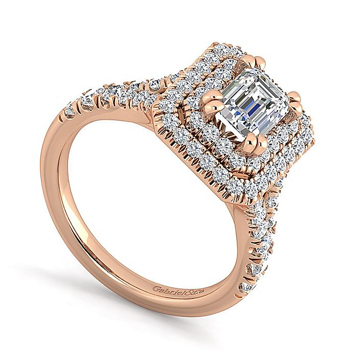 14K Rose Gold Emerald Cut Double Halo Diamond Engagement Ring