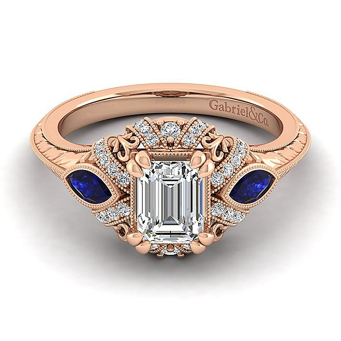 14K Rose Gold Emerald Cut Sapphire and Diamond Engagement Ring
