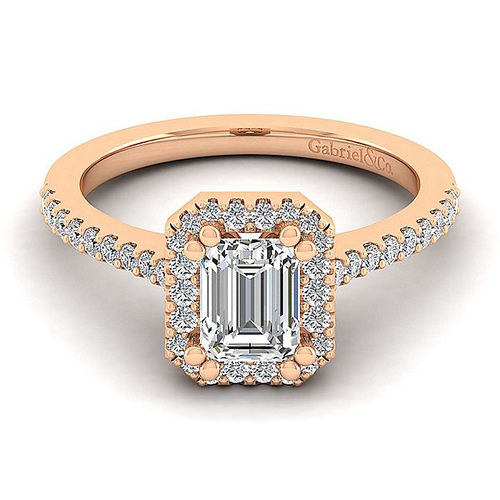 14K Rose Gold Emerald Halo Diamond Engagement Ring