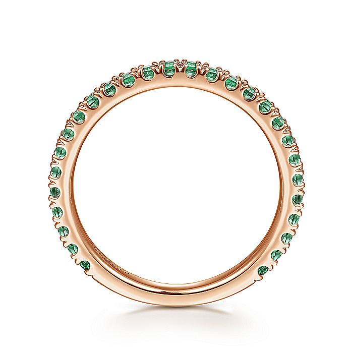 14K Rose Gold Emerald Stackable Ring