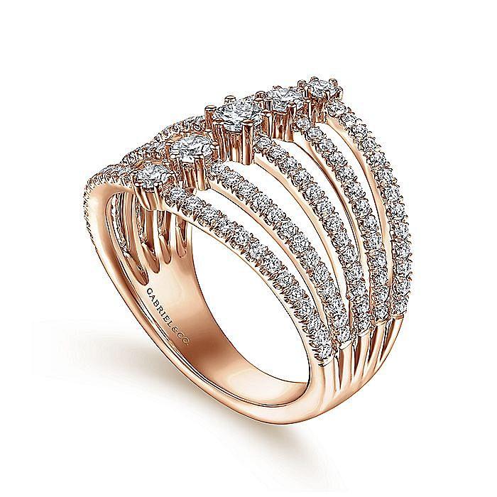 14K Rose Gold Five Row Diamond Station Ring