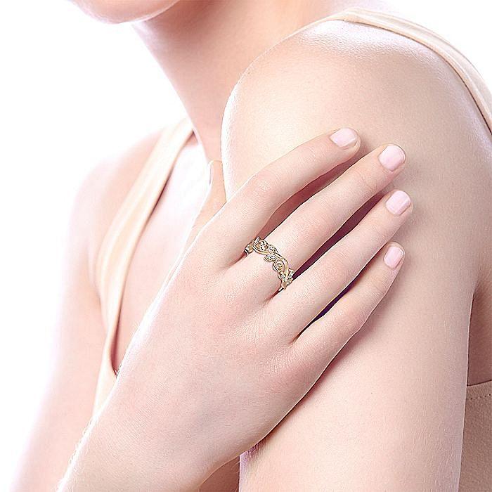 14K Rose Gold Floral Branch Diamond Eternity Ring