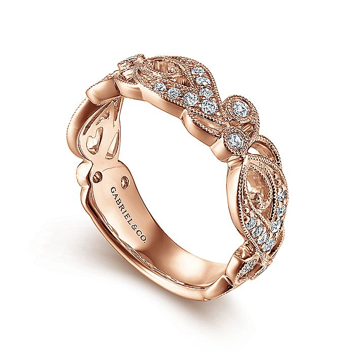 14K Rose Gold Floral Inspired Diamond Stackable Ring