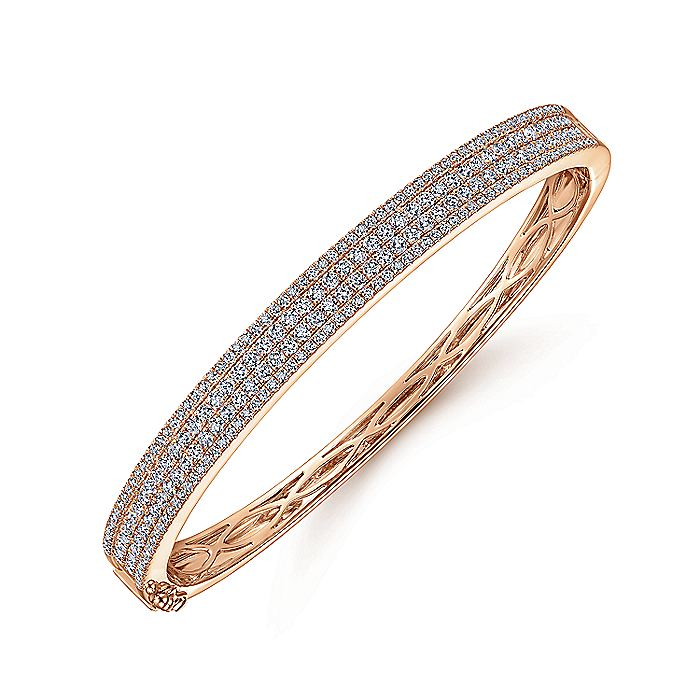14K Rose Gold Four Row Diamond Bangle