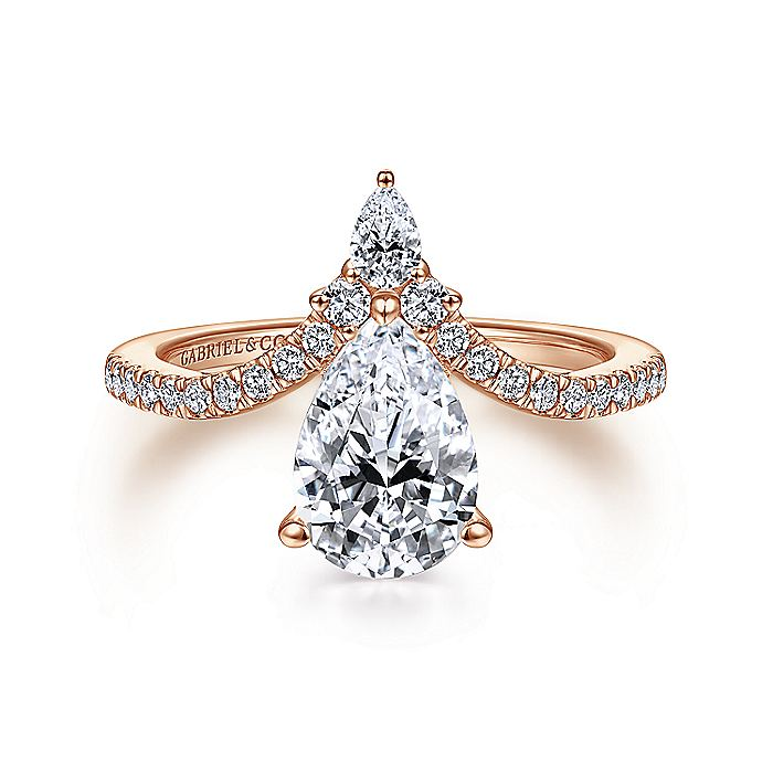 14K Rose Gold Free Form Pear Shape Diamond Engagement Ring