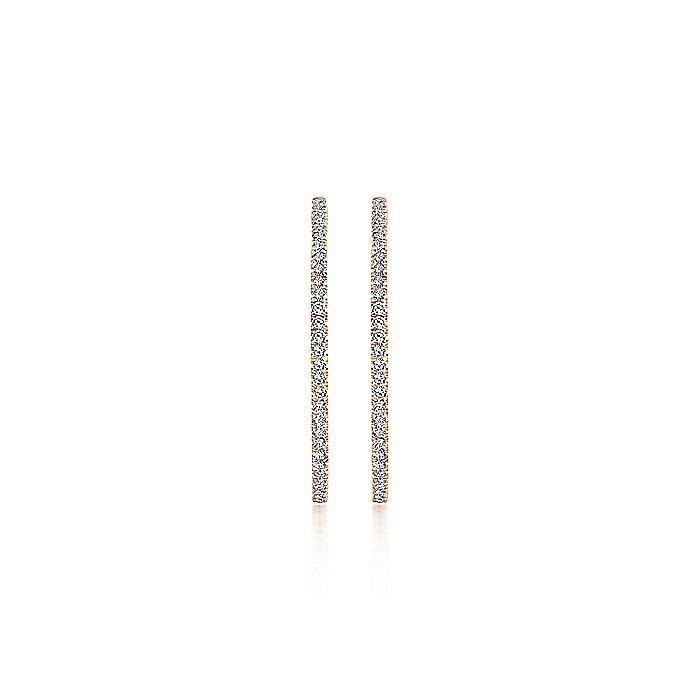 14K Rose Gold French Pavé 40mm Round Inside Out Diamond Hoop Earrings