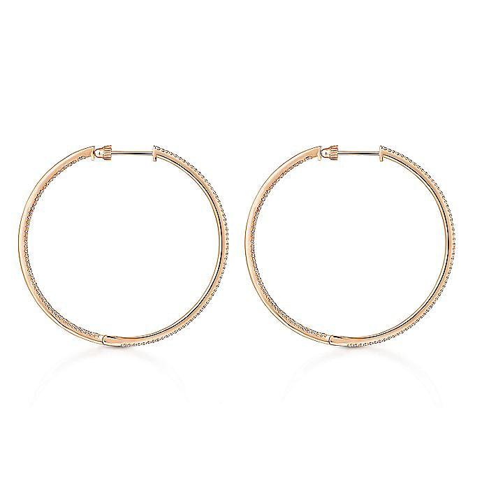 14K Rose Gold French Pavé 50mm Round Inside Out Diamond Hoop Earrings