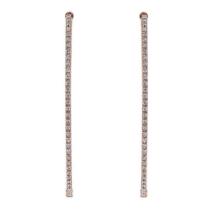 14K Rose Gold French Pavé 55mm Oval Inside Out Diamond Hoop Earrings