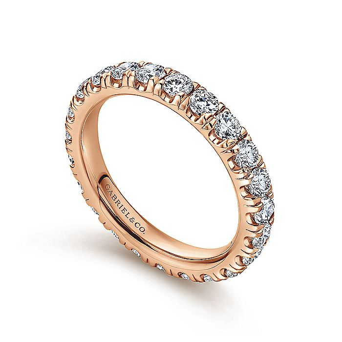 14K Rose Gold French Pavé Set Diamond Eternity Band