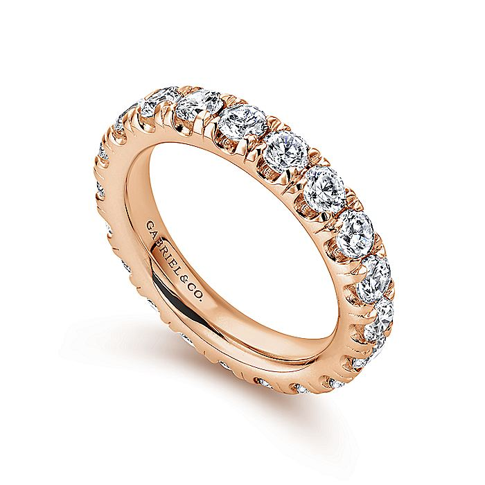 14K Rose Gold French Pavé Set Diamond Eternity Band