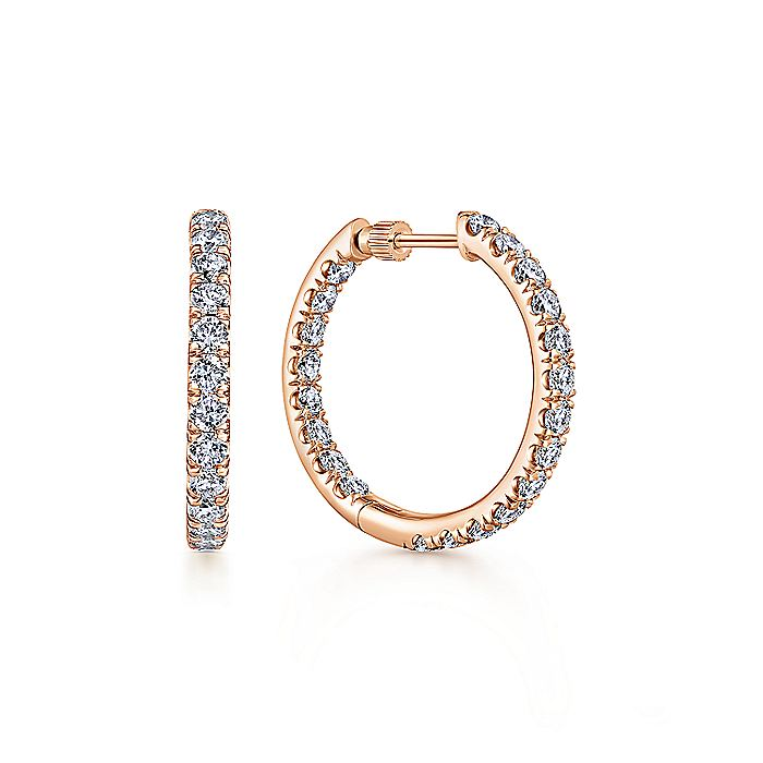 14K Rose Gold French Pave  20mm Round Inside Out Diamond Hoop Earrings