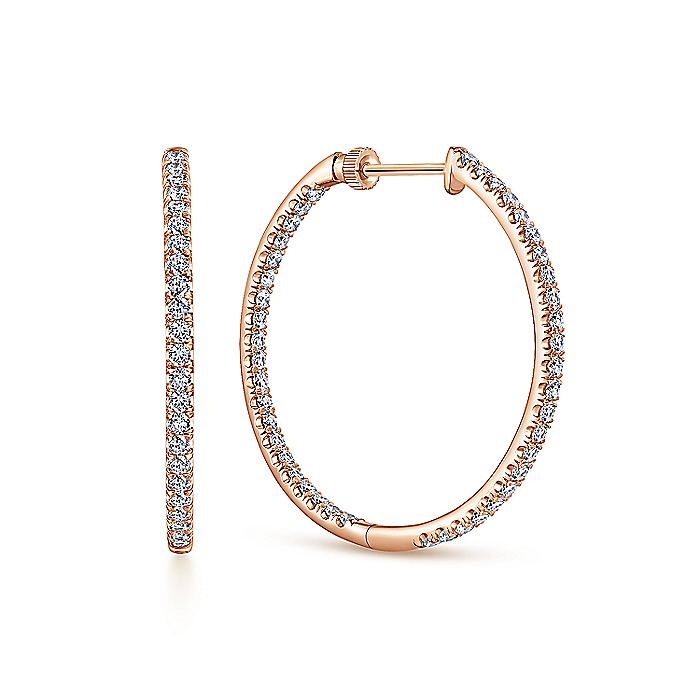 14K Rose Gold French Pave  30mm Round Inside Out Diamond Hoop Earrings
