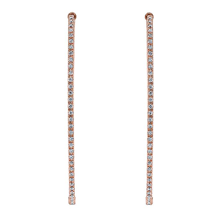 14K Rose Gold French pave 55mm Oval Inside Out Diamond Hoop Earrings