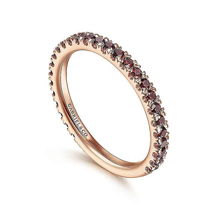 14K Rose Gold Garnet Stackable Ring