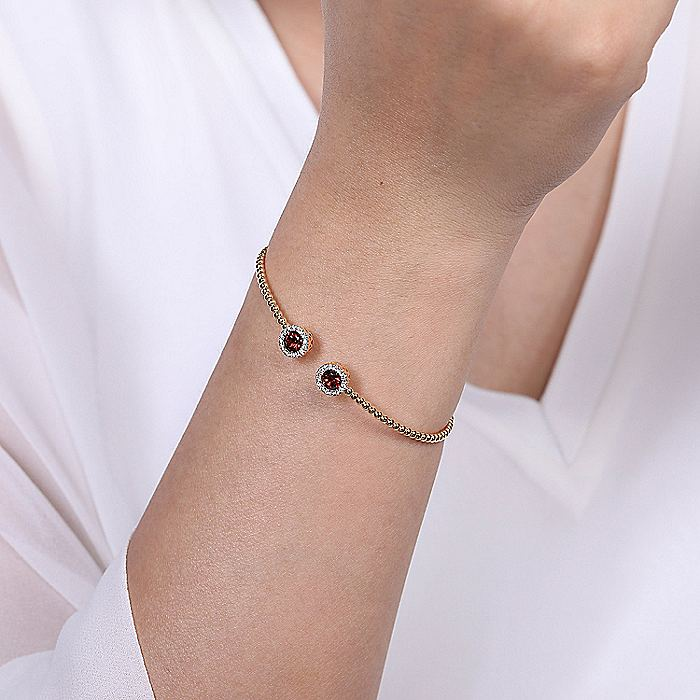 14K Rose Gold Garnet and Diamond Bujukan Bangle