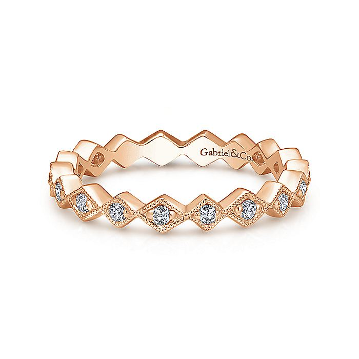 14K Rose Gold Geometric Diamond Stackable Ring