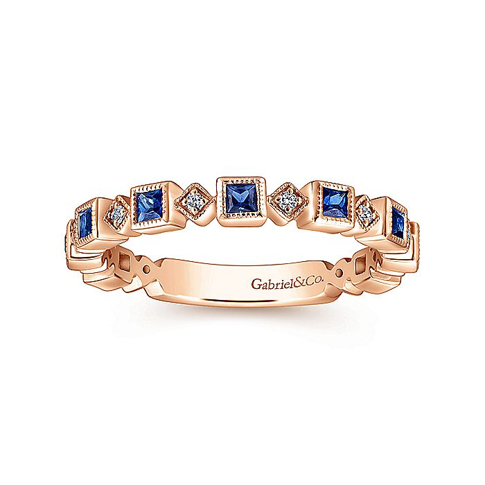 14K Rose Gold Geometric Sapphire and Diamond Stackable Ring