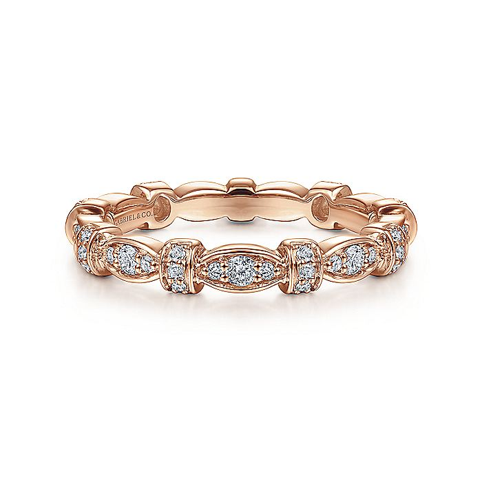 14K Rose Gold Geometric Stackable Diamond Ring