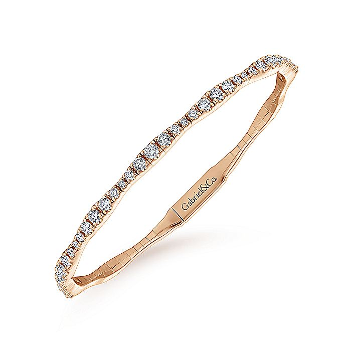 14K Rose Gold/Graduating Diamond Bangle