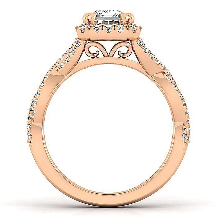 14K Rose Gold Halo Emerald Cut Diamond Engagement Ring