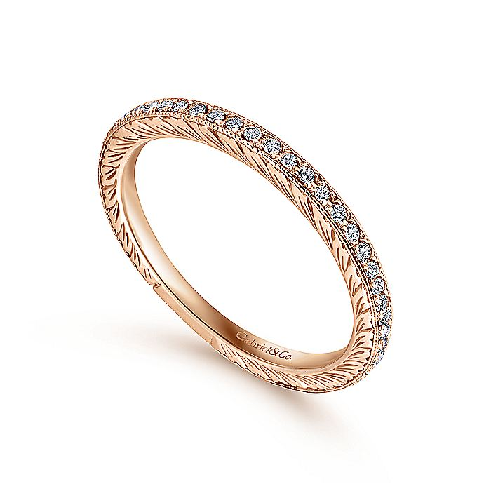 14K Rose Gold Hand Carved Stackable Diamond Ring
