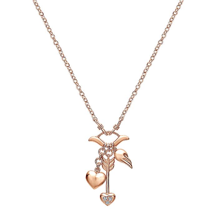 14K Rose Gold Heart and Arrow Charm Necklace with Diamond Accents