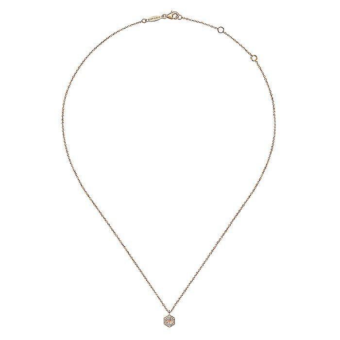 14K Rose Gold Hexagonal Halo Morganite and Diamond Pendant Necklace