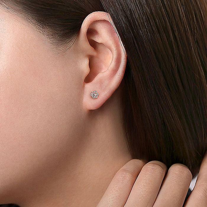 14K Rose Gold Hexagonal Morganite and Diamond Stud Earrings