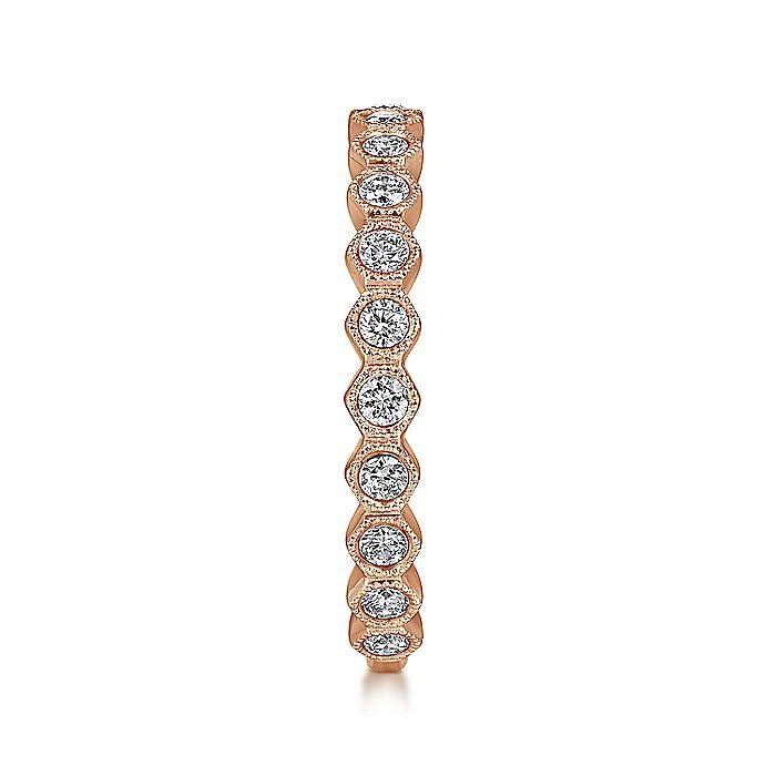 14K Rose Gold Hexagonal Station Stackable Diamond Band