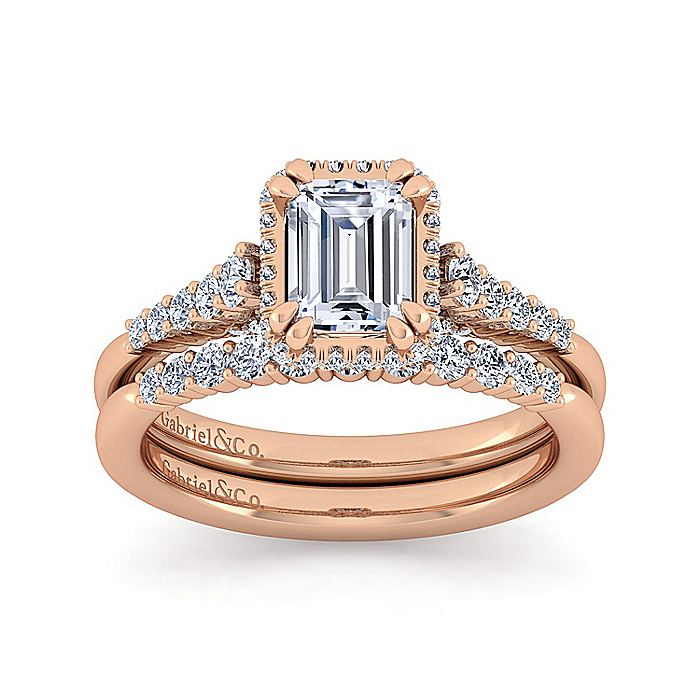 14K Rose Gold Hidden Halo Emerald Cut Diamond Engagement Ring