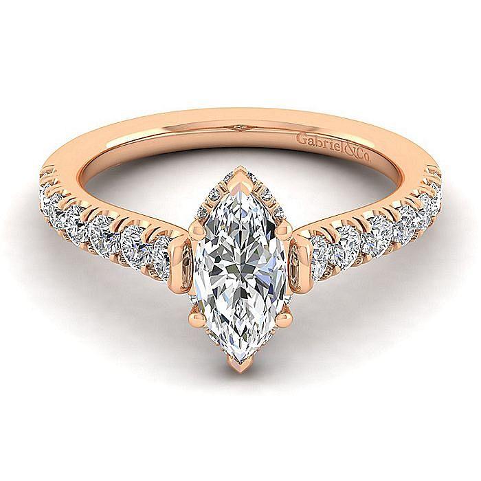 14K Rose Gold Hidden Halo Marquise Shape Diamond Engagement Ring
