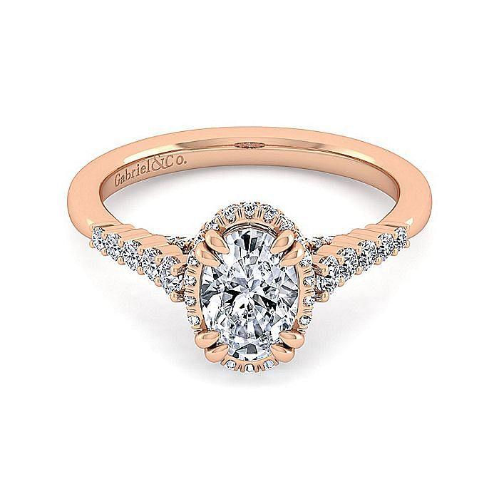 14K Rose Gold Hidden Halo Oval Diamond Engagement Ring
